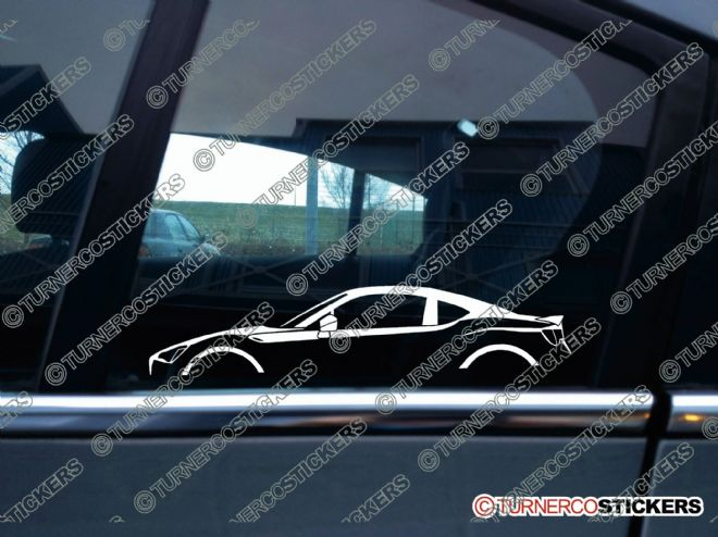 2x JDM Car Silhouette sticker - Toyota GT86 / Scion FRS sports car (with spoiler)
